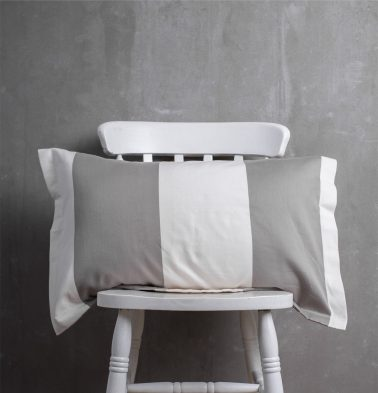 Woven Broad Stripe Cotton Pillow Cover Grey/White