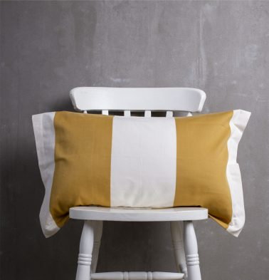 Woven Broad Stripe Cotton Pillow Cover Mustard