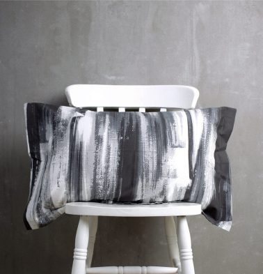 Brushstroke Cotton Pillow Cover Black
