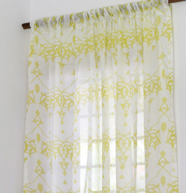 Arabic Chevron Sheer Cotton Curtain Lemon Yellow