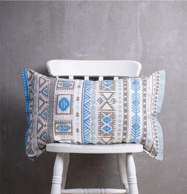 Aztec Cotton Pillow Cover Blue