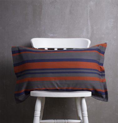 Bold Stripes Cotton Pillow Cover Blue/Orange