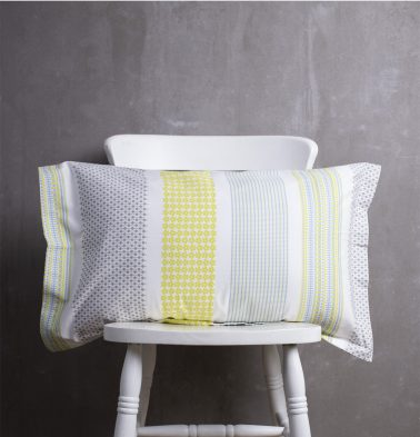 Broad Border Cotton Pillow Cover Yellow