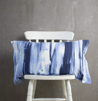 Brushstroke Cotton Pillow Cover Blue