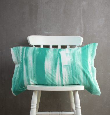 Brushstroke Cotton Pillow Cover Green