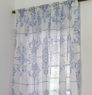 Classic Lines Cotton Sheer Custom Curtain Blue
