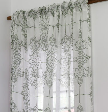 Classic Lines Sheer Cotton Curtain Mint Green