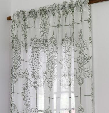 Classic Lines Cotton Sheer Custom Curtain Mint Green