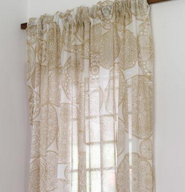 Dreamcatcher Cotton Sheer Custom Curtain Light Brown
