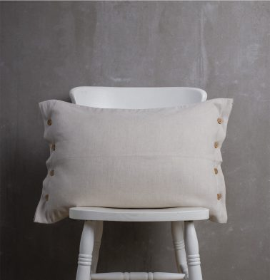 Linen Pillow Cover with button Silver Grey