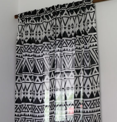 Magic Triangle Sheer Cotton Curtain Black