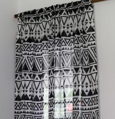 Magic Triangle Cotton Sheer Custom Curtain Black