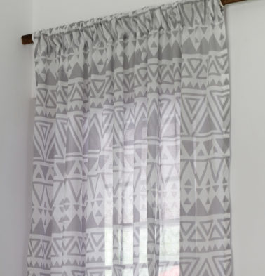 Magic Triangle Sheer Cotton Curtain Grey