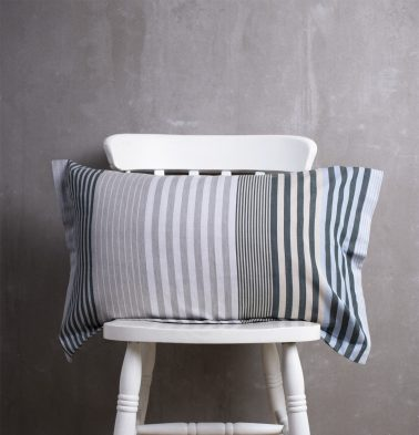 Melange Stripes Cotton Pillow Cover Blue