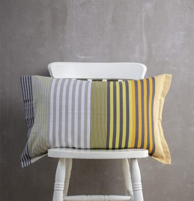 Melange Stripes Cotton Pillow Cover Yellow
