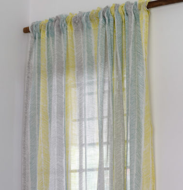 Muted Chevron Stroke Sheer Cotton Curtain
