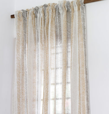 Raw Chevron Stroke Sheer Cotton Curtain