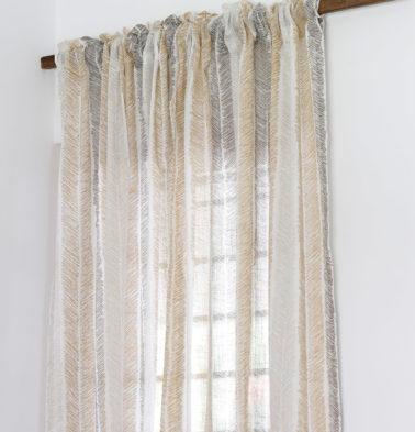 Raw Chevron Stroke Cotton Sheer Custom Curtain