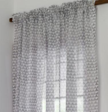 Star Triangles Cotton Sheer Custom Curtain Grey