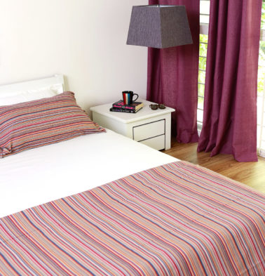Woven Stripes Cotton Duvet Cover Red