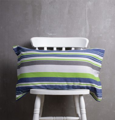 Woven Stripes Cotton Pillow Cover - Brillliant Green/Blue