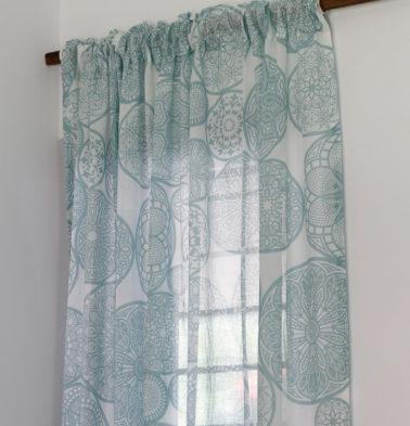 Dreamcatcher Cotton Sheer Custom Curtain Teal Blue