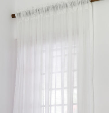 Slub Sheer Cotton Curtain Powder White
