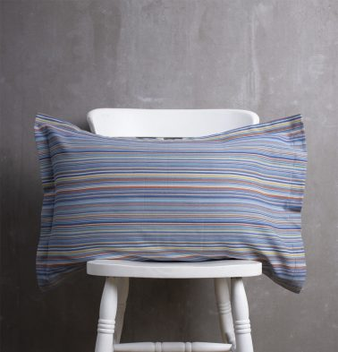 Woven Stripes Cotton Pillow Cover Blue