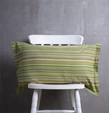 Woven Stripes Cotton Pillow Cover Green