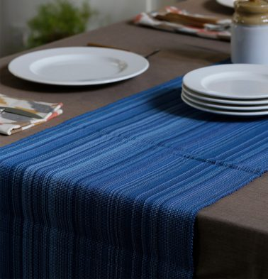 Handwoven Stripes Cotton Table Runner Blue 14