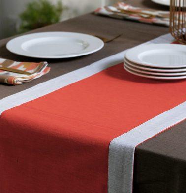 Textura Cotton Table Runner Orange/White 14