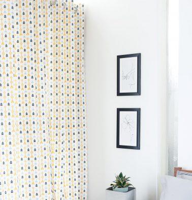 Aztec Arrow Cotton Curtain Citrus Yellow