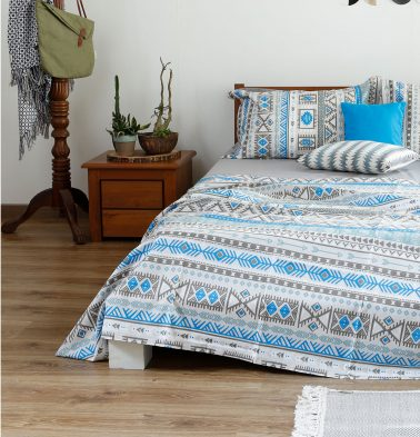 Aztec Cotton Duvet Cover Blue