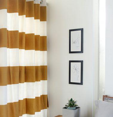 Broad Stripe Cotton Curtain Mustard/White