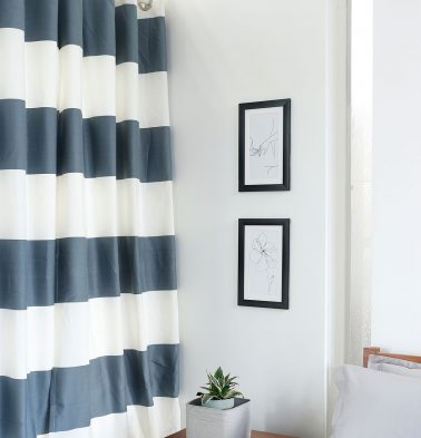 Broad Stripe Cotton Curtain Silver Blue