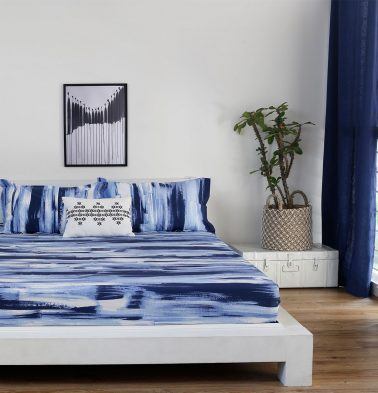 Brushstroke Cotton Fitted Bedsheet - Blue