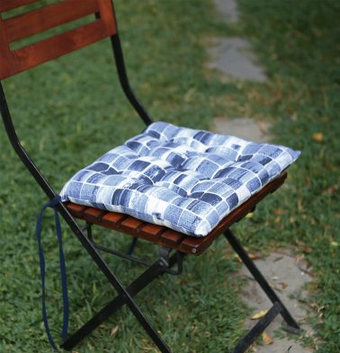 Brush Stroke Cubes Cotton Chairpad Blue