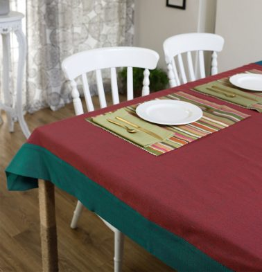 Chambray Cotton Table Cloth Aurora Red/Green 60