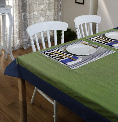 Chambray Cotton Table Cloth Fern Green/Blue 60