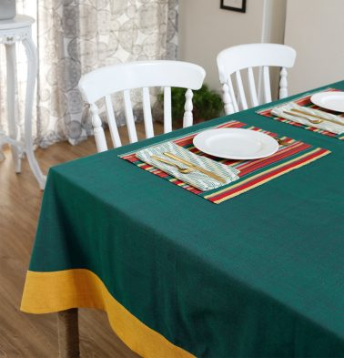 Chambray Cotton Table Cloth Green/Yellow 60