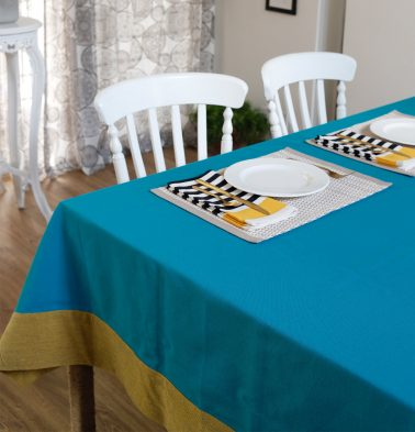 Chambray Cotton Table Cloth Scuba Blue/Beige 60