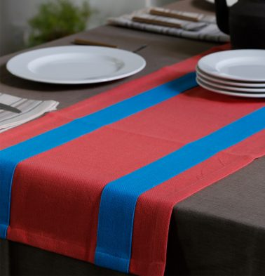 Chambray Cotton Table Runner Blue/Coral 14