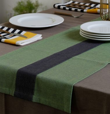 Chambray Cotton Table Runner Fern Green/Grey 14
