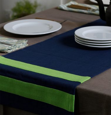 Chambray Cotton Table Runner Green/Blue 14