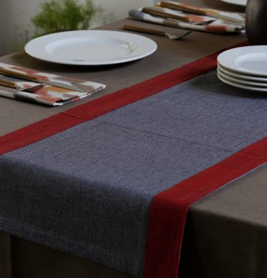 Chambray Cotton Table Runner Grey/Maroon 14