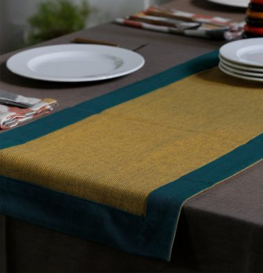Chambray Cotton Table Runner Yellow/Green 14