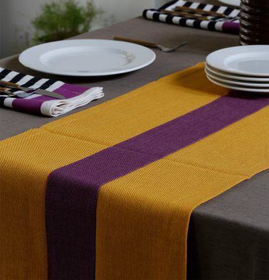 Chambray Cotton Table Runner Yellow/Purple 14