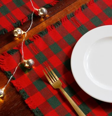 Christmas Checks Cotton Table Mats Red/Green - Set of 6