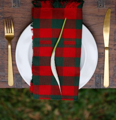 Christmas Checks Cotton Table Napkins  Red/Green- Set of 6