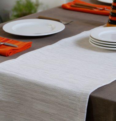 Handwoven Cotton Table Runner White 14